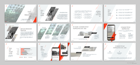 Red presentation templates elements on a white background.