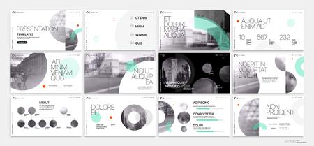 Ilustración de Presentation template. Green geometric elements for slide presentations on a white background. - Imagen libre de derechos