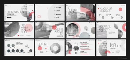 Ilustración de Presentation template. Red geometric elements for slide presentations on a white background. - Imagen libre de derechos