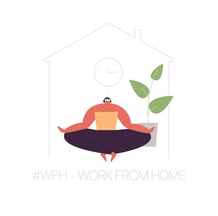 Illustration pour WFH - Work from home, home office. An employee works from home because of the COVID-19 coronavirus epidemic. Thin lines illustration in flat style. - image libre de droit