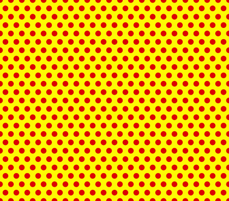 Pop-art style repeatable red dots on yellow background.