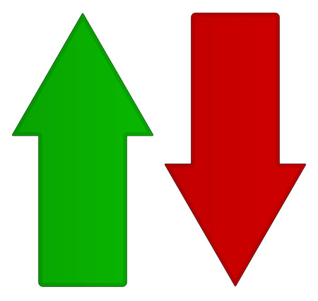 Illustration pour Simple up and down arrows. Upward, downward arrows in green and red - image libre de droit