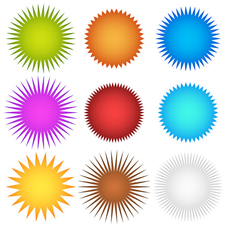 Ilustración de Colorful starburst, flash, badge set. vector graphics - Imagen libre de derechos