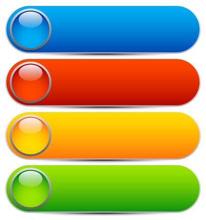 Ilustración de Glossy buttons, banners. Rounded rectangle shapes. Colorful vector design elements. Blank buttons. Bright vector template, webdesign element - Imagen libre de derechos