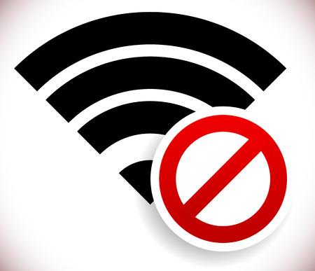 Illustration pour Vector illustration of no wireless signal, bad antenna, no wi-fi connection - image libre de droit