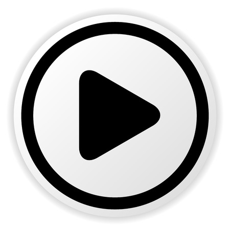 Vector illustration of a simple rounded circle play button for multimedia, start video, music concepts.