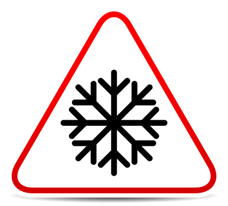 Vector illustration of a road sign with snowflake symbol. Extreme weather, storm