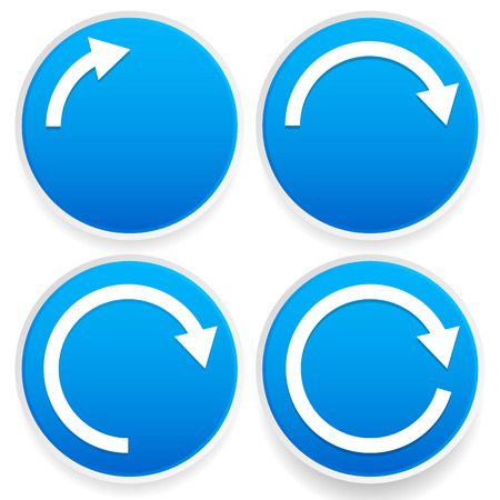 Vector Illustration of Circular arrows, 1/4, 1/2, 3/4 and full circles - Blue arrow signs.