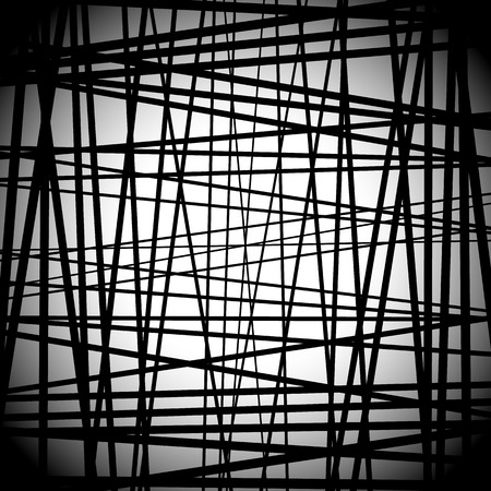 Abstract black and white art with random lines. Editable.