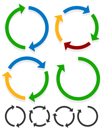 Circular arrows for recycle, repetition, rotation or cycle, synchronization, forward, backward concepts. Arrows in circle vector graphics.