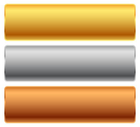 Illustration pour Gold, silver, bronze bars, banners. Editable vector. - image libre de droit
