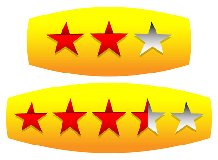 Star rating on plate.   vector illustration