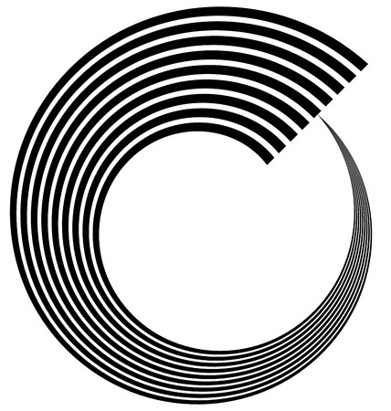 Abstract spiral, volute, helix element. Vector art.