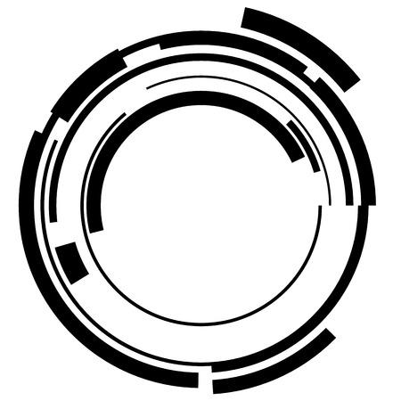 Ilustración de Abstract hi-tech segmented geometric circle shape isolated on white - Imagen libre de derechos
