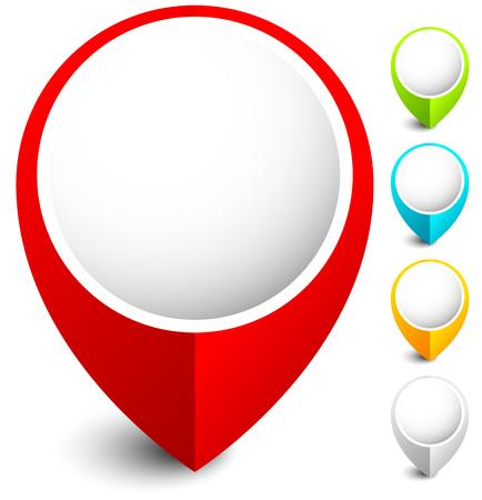 Illustration pour Map marker, map pin icon in 5 colors - image libre de droit