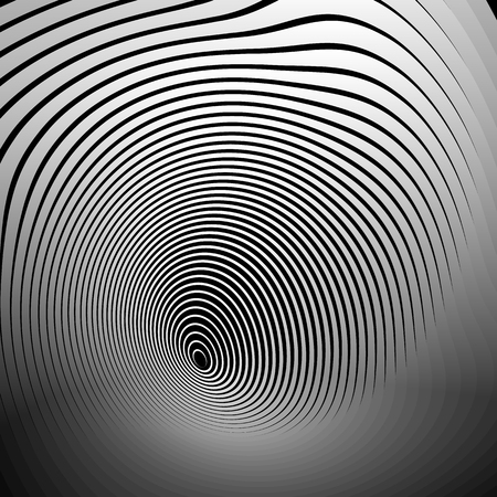 Concentric shapes with deformation effect. Abstract grayscale graphics.
