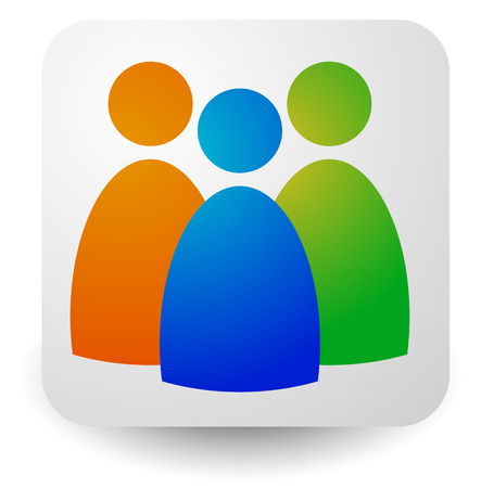 Illustration pour Icon with three figures - Businessmen, characters, employment, HR (human resources) icon - image libre de droit
