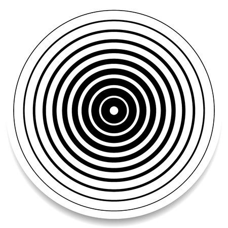 Illustration pour Concentric circles, rings abstract geometric element. Ripple, impact effect - image libre de droit
