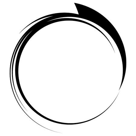 Ilustración de Circle with dynamic swoosh line frame. Monochrome circular element - Imagen libre de derechos