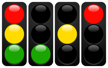 Illustration for Traffic lights, lamps. Traffic light icons with gloss - Royalty Free Image