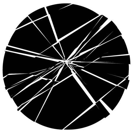 Illustration for Facture, crack element. Shatter, broken surface texture. Grungy design. Decay, burst splinters illustration - Royalty Free Image