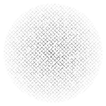 Illustration pour Abstract grayscale geometric circle element with overlapping shapes. Mosaic circle grid, mesh. Circular, radial abstract black and white illustration. Op-art element - image libre de droit