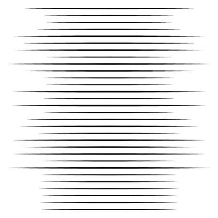 Illustration for Random lines halftone element. Random horizontal lines. Irregular straight, parallel stripes. Strips, streaks half-tone geometric pattern - Royalty Free Image