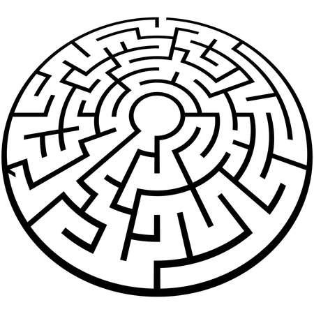 Illustration pour Solvable 3D maze, labyrinth, puzzle game vector illustration - image libre de droit