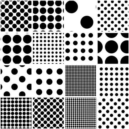 Illustration for Black and white seamless circles, dots, speckles pattern set. Monochrome stipple, stippling, halftone background set. Vector - Royalty Free Image