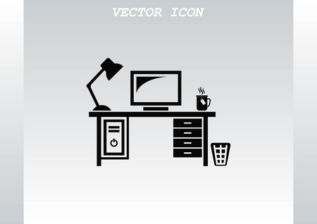 Computer on the table icon. Workplace programmer icon.