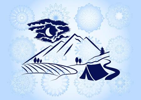 Illustration pour Mountain landscape. Camping icon. - image libre de droit