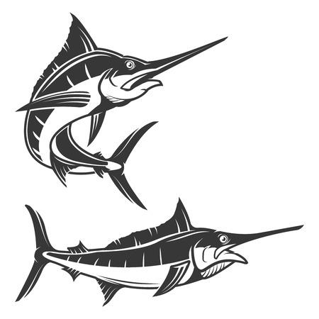 Set of swordfish illustration isolated on white background. Marlin icon. Design elements for label, emblem, sign, brand mark.