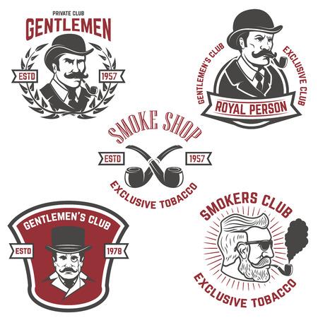 Illustration pour Set of  smokers club, gentlemen club labels. Design elements for logo, emblem, sign, brand mark. Vector illustration. - image libre de droit
