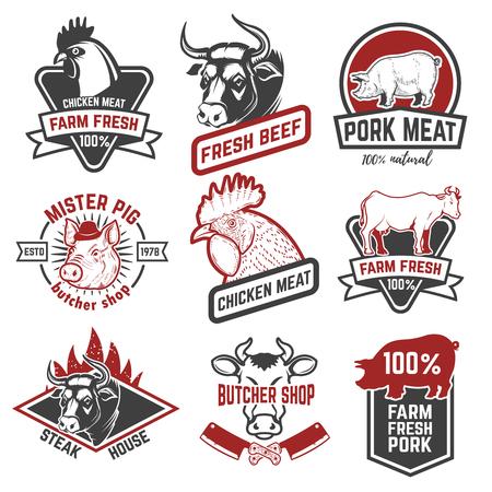 Illustration pour Beef, chicken, pork meat labels on white background. Design elements for logo, emblem, sign, badge. Vector illustration - image libre de droit