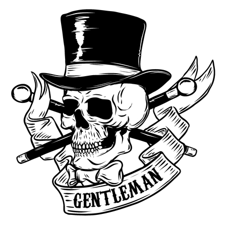 60cb53677a41d1 Gentleman. Skull in vintage hat. Design element for poster, t-shirt ...
