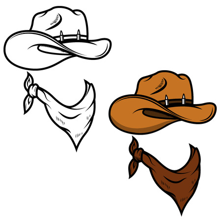 90cf934ae13 Cowboy hat and bandana isolated on white background. Vector illustration.