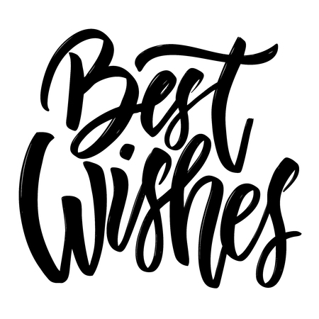 Illustration pour Best wishes. Hand drawn lettering isolated on white background. Design element for poster, greeting card. Vector illustration - image libre de droit