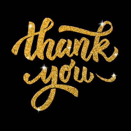 Ilustración de Thank you. Hand drawn lettering in golden style isolated on black background. Design elements for poster, greeting card. Vector illustration - Imagen libre de derechos