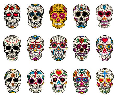 Illustration for Set of sugar skulls illustrations. Dead day. Dia de los muertos. Design elements for poster, card, flyer, banner. Vector illustration. - Royalty Free Image