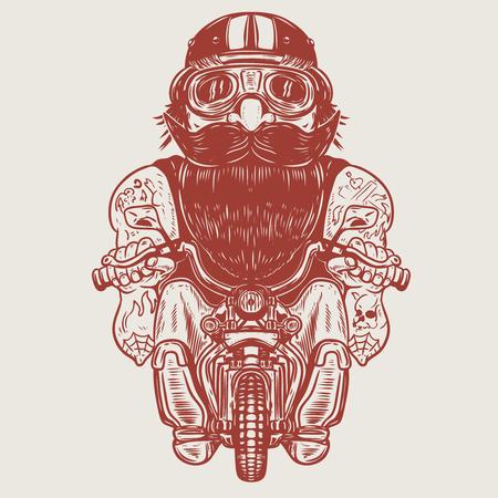 Ilustración de Funny biker caricature. Racer on little motorcycle. Design element for poster, t-shirt, card, banner. Vector illustration - Imagen libre de derechos