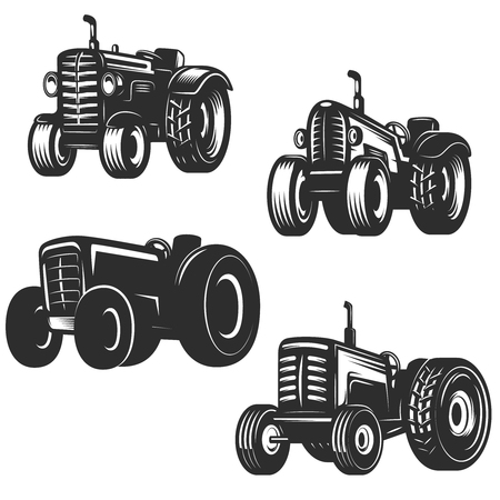 Illustration pour Set of retro tractor icons. Design elements for logo, label, emblem, sign. Vector illustration - image libre de droit