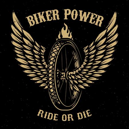 Illustration pour Biker power. Wheel with wings. Design element for logo, label, emblem,sign, badge,, t-shirt, poster. Vector illustration - image libre de droit