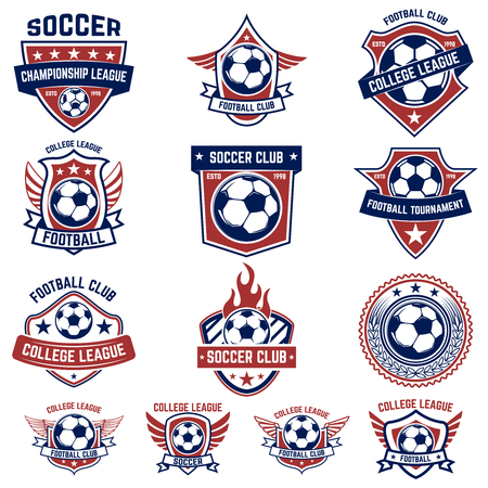 Ilustración de Set of soccer, football emblems. Design element for logo, label, emblem, sign. Vector illustration - Imagen libre de derechos