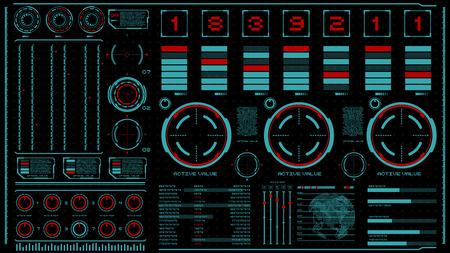 Illustration pour hi-tech interface on dark background. Design elements for hud, user interface, animation, motion design. Vector illustration - image libre de droit