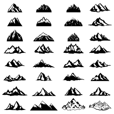 Illustration pour Big set of mountain icons isolated on white background. Design elements for logo, label, emblem, sign. Vector illustration - image libre de droit