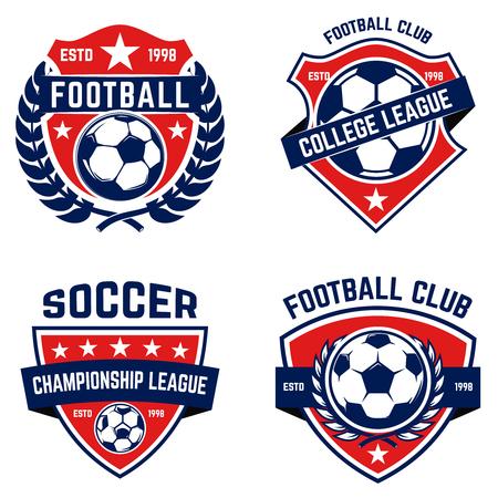 Illustration pour Set of soccer, football emblems. Design element for logo, label, emblem, sign. Vector illustration - image libre de droit