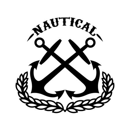 Illustration pour Nautical. Emblem template with wreath and crossed anchors. Design element for logo, label ,emblem, sign. Vector illustration - image libre de droit