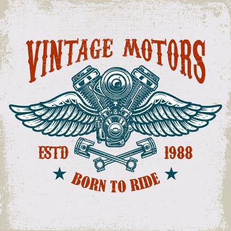 Illustration pour Vintage winged motor template design - image libre de droit