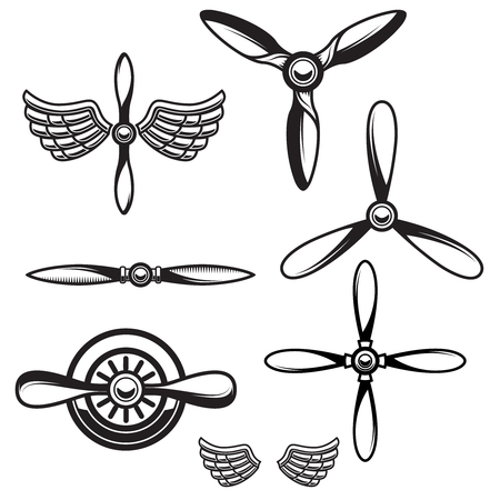Ilustración de Set of airplane propellers. Design element for logo, emblem, sign. Vector illustration - Imagen libre de derechos