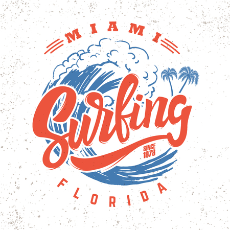 Illustration for Surfing miami. Lettering phrase on background with sea wave - Royalty Free Image